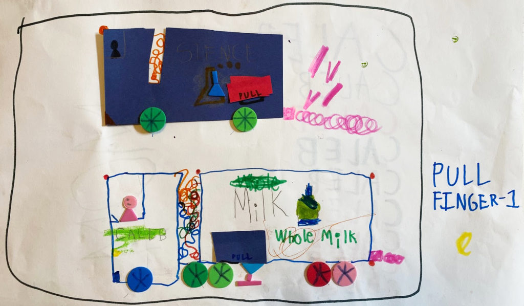 Kindergarten's drawing of a story.