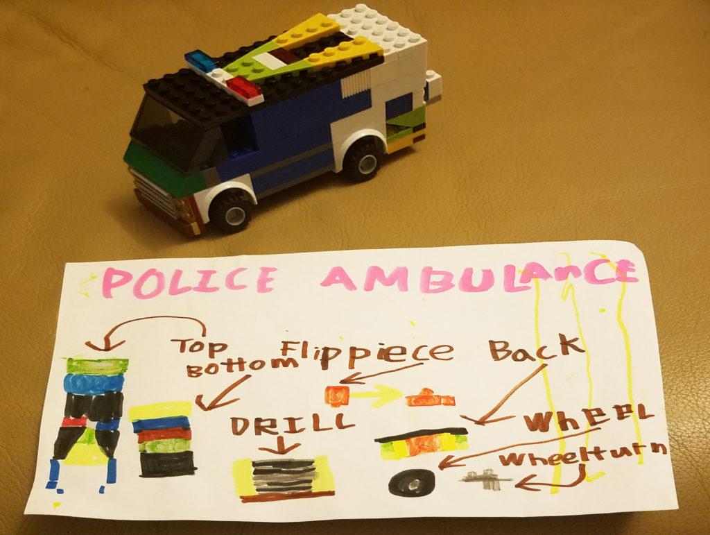 Kindergarten boy's drawing of a police car.