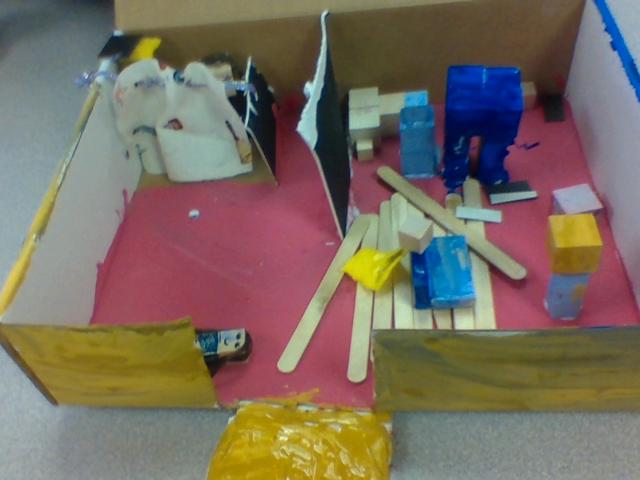 Elementary student's cardboard house.