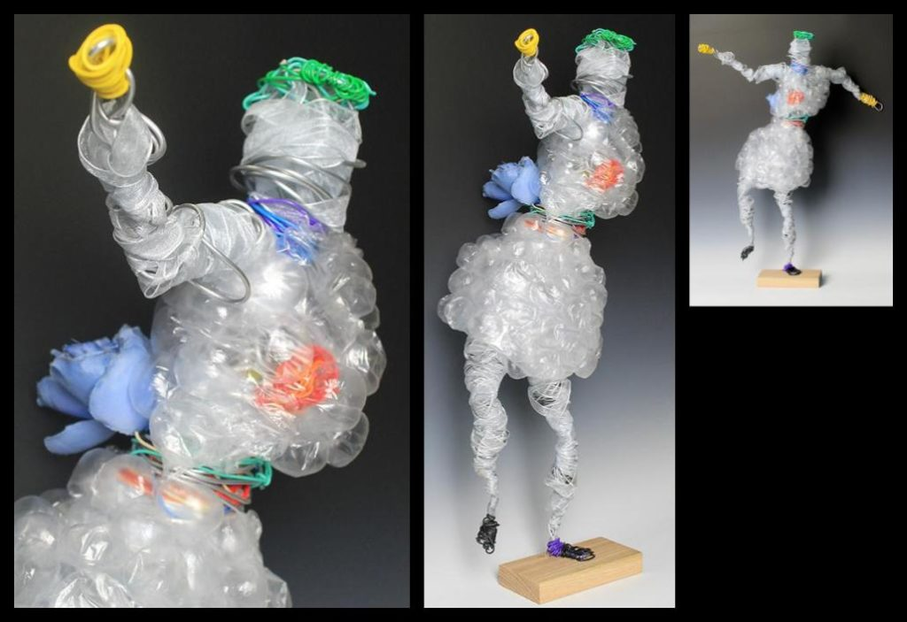 Recycled art piece of a person