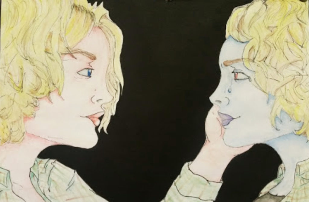 High school student's drawing that explores identity.