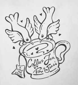 Drawing of two birds and a coffee cup
