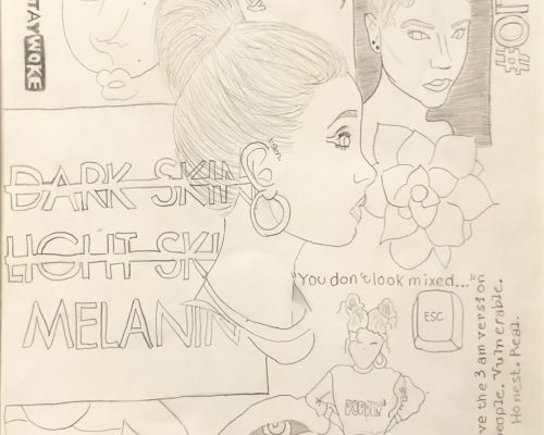 Middle school pencil drawing that explores ideas of race.